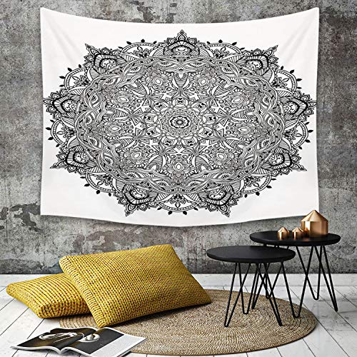 Tapestry, Wall Hanging, Mandala, Lace Like Macro rundes Tribal Motiv mit Mix Paisley Leaf Elements Kitsch Image,wall hanging wall decor, Bed Sheet, Comforter Picnic Beach Sheet home décor 150 x 200 cm Paisley Mix