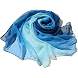 Sciarpa Di Grandi Dimensioni Con Colori Sfumati Per Donna, Sciarpa In Tulle Con Colori Di Transizione, Sciarpa Per La Protezi
