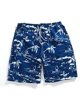 HAIYOUVK Beach Shorts Male Short-Sleeve Large Size Pants Casual Shorts White Coconut Print Pants,L,Blue White...