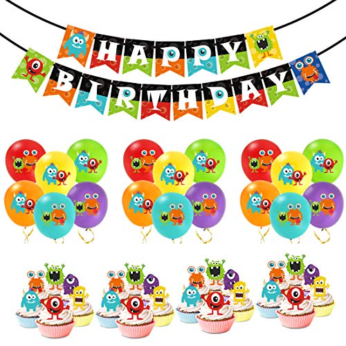 Kreatwow Monster Bash Partydekorationen - Monster Geburtstag Ballons Happy Birthday Banner Cupcake Toppers für Jungen Monster Party Supplies (Monster High Kuchen Dekoration)
