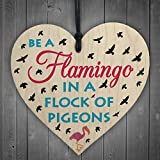 Red Ocean Be A Flamingo In Pigeons Novelty Wooden Hanging Heart Plaque Gift Friends Sign