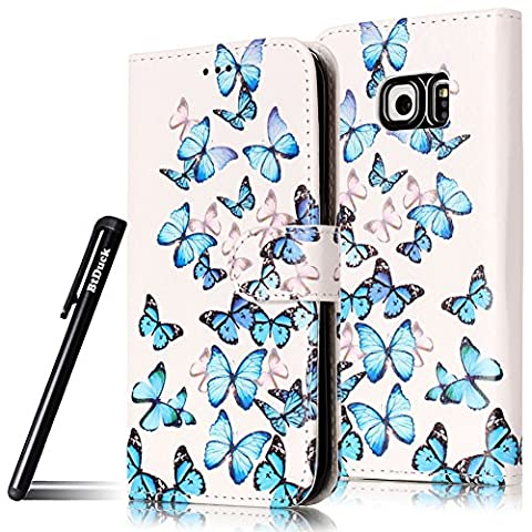 BtDuck Leather Case for Samsung Galaxy S6 Edge A group of blue butterflies PU Stand Painted pattern Phone Protector PU Leather Flip Folio Cover Anti-slip Skin Outdoor Protection Simple Strict Shockproof Heavy Duty Robust Bumper Case Shell with Stander Oyster Card ( Travel Card Bus Pass)Holder Slots Pocket Kickstand Function Magnetic Closure + 1 * Black Stylus Pen Black Look Up Put down the