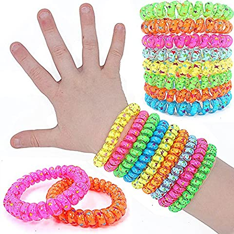 German Trendseller® - 12 x bracelets super star┃avec étoiles┃mélange de couleurs┃petit cadeau┃l'anniversaire d'enfant┃bijoux d'enfants┃bracelets de spirales