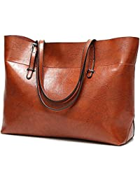 Womens Soft Leather Handbags Large Capacity Retro Vintage Top-Handle Casual Tote Shoulder Bags 2Size/13in and 15.5in