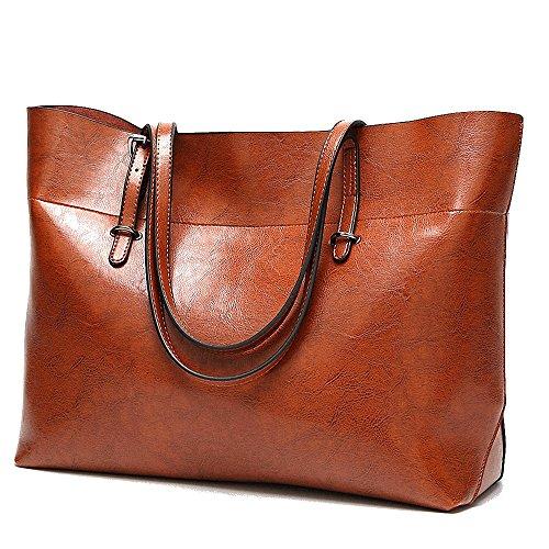 Womens Soft Leder Handtaschen grosser Kapazität Retro Vintage Top-Griff lässige Shopper Umhängetaschen (Shopper Damen Lässig Handtasche)