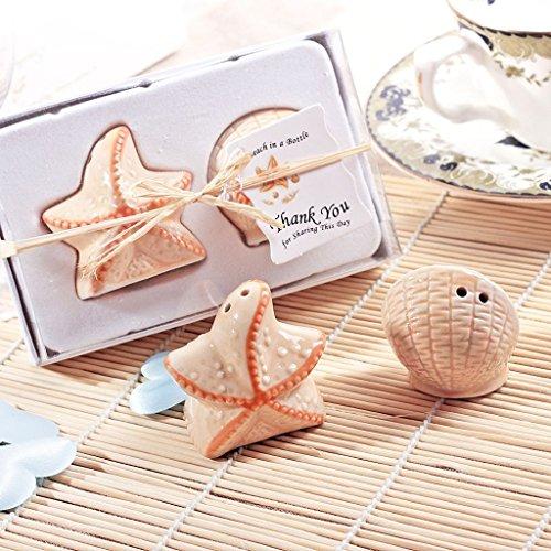 meyfdsyf spezielle Seestern Shell Hochzeit Party Salz Pfefferstreuer aus Keramik Shaker Kanister Set Geschenk Dekoration (Shell-salz-und Pfefferstreuer)