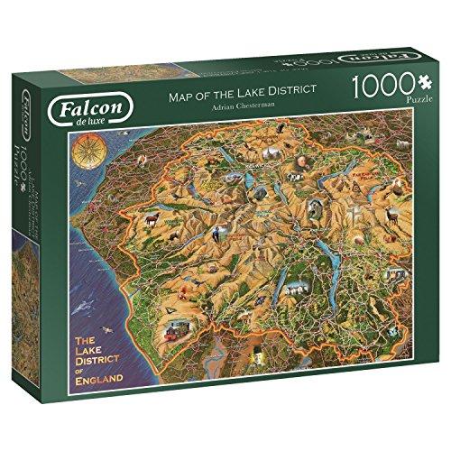 Falcon De Luxe, Fuchsia Karte der 11237Lake District 1000Stück Puzzle, Multi