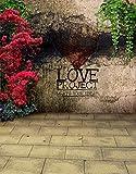 Weinlese-Backsteinmauer-Stein-Fußboden-Blumen-Liebe-Fotografie-Kulissen-Foto-Stützen-Studio-Hintergrund 5x7ft