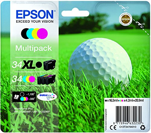 Epson C13T34794010-34XL MPACK Ink (XL BKundSTD cm - Multipack Ink Jet Print  Cartridges, Black, Cyan, Magenta, Yellow