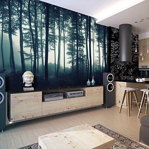 Fototapete Wald grün 300x210 cm ! |Design Tapete | Fototapeten | Tapeten | Wandtapete | moderne Wanddeko | Wand Dekoration Schlafzimmer Wohnzimmer | Landschaft Baum Bäume Natur FOB0233a62XL