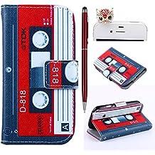 Felfy Vintage Magnetic Tape PU Cuero Billetera Funda Flip Carcasa Para Samsung Galaxy S3 mini i8190 + 1x Rojo Búho Enchufe del Polvo + 1x Rojo Lápiz Táctil