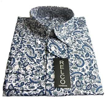 Shirt Blue Paisley Pattern Men's Classic Mod Vintage Design (Small Collar Size 14-14.5 Underarm to Underarm 51cm)