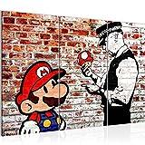 Bilder Mario and Cop Banksy Ziegel Mauer Wandbild 120 x 80 cm - 3 Teilig Vlies - Leinwand Bild XXL Format Wandbilder Wohnzimmer Wohnung Deko Kunstdrucke Braun -100% MADE IN GERMANY - Fertig zum Aufhängen 303031b