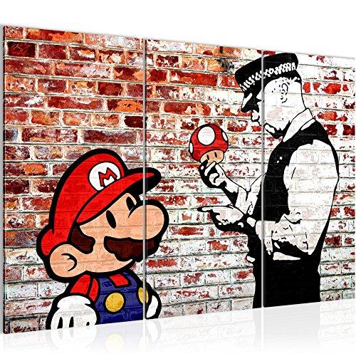 Bilder Mario and Cop Banksy Ziegel Mauer Wandbild 120 x 80 cm - 3 Teilig Vlies - Leinwand Bild XXL Format Wandbilder Wohnzimmer Wohnung Deko Kunstdrucke Braun - Fertig zum Aufhängen 303031b