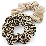 Haargummi, 2 Stück, Leopard-Print und Beige, Stoff-Zopfband - AJ26037