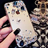 Custodia iPhone 6, Cover iPhone 6S Strass Diamante, SainCat Cover per iPhone 6/6S Custodia Silicone Morbido, Bling Glitter Strass Diamante Shock-Absorption Custodia Ultra Slim Transparent Silicone Case Ultra Sottile Morbida Gel Cover Case Custodia Protettiva Crystal Clear Cover Gomma Case Caso Ultra Thin Slim Protettiva Anti-scratch Skin Cover Shell Coperture Bumper Cover per iPhone 6/6S 4.7-Blu Polare