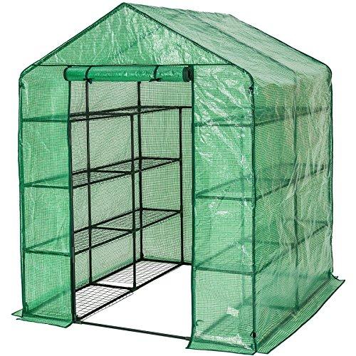 tectake Serre de Jardin PE Plastique Tente abri - diverses modèles - (143x143x195cm | No. 401860)