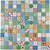 Retro vintage pop-up mosaic tiles, ceramic, multi-coloured for walls, bathrooms, toilets, showers, kitchens, mirrors, counter covering, bath cladding, WB18D-1616