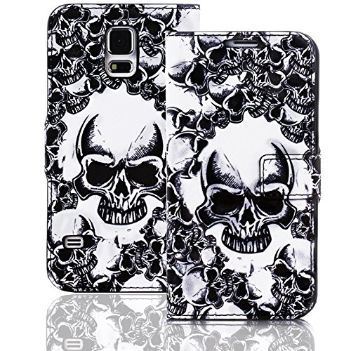 numerva Handyhülle kompatibel mit Huawei Ascend Y300 Hülle [Totenkopf Muster] Case Ascend Y300 Handytasche