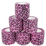 Paws & Patch 6er-Set selbsthaftender Verband für alle Haustiere (Hunde, Katzen, Pferde) I Leo-Muster Pink I kohäsive Bandagen I Tierverband I Fixierbinden I Pet Vet Wrap I Tapes I 5cm x 4,5m