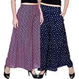 TASHI Printed Poly Crepe Stylish Blue Plazzo for Women Pack of 2