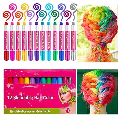 12 Farben Temporäre Haarkreide Set Auswaschbare und ungiftige für Kinder Mädchen,Instant Haartönung & Gesichtsbemalung für Karneval Party Halloween Geburtstag ()