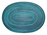 Bast Platzset oval ca. 35x50 cm Kunststoff Tischset Untersetzer waschbar Türkis Blau meliert