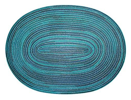 Haus und Deko Bast Platzset oval ca. 35x50 cm Kunststoff Tischset Untersetzer waschbar Türkis Blau meliert (Tischdecke Und Braun Türkis,)