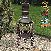 FunkyBuys Deluxe Grandi 89cm (0,9m altezza) Bronzo Deluxe Barbecue Stufa in ghisa Mesh design in acciaio (si-bbq4) antico stile rustico