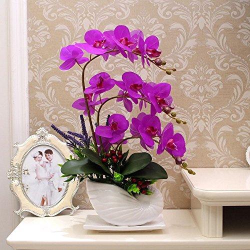Flinfeays fiori artificiali fiori finti falena orchidea creativo fai da te finestra di nozze stand partito cucina decorazioni per la casa in ceramica viola -05