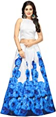 Nena Fashion Women's Floral Printed Silk Semi-Stitched Lehengha choli