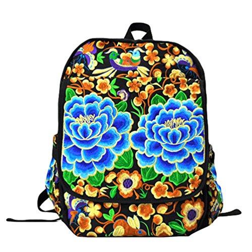 YAANCUN Rucksack Schulrucksack Vintage Mädchen Teenager Bestickt Kinderrucksack Daypacks Tasche Canvas Tasche Wie das Bild#3