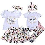 Winmany Trajes a juego para niñas y bebés pequeños mameluco pantalones florales falda vestido
