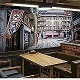 Tapeten Wandbild Wandaufkleberbenutzerdefinierte Vintage 3D Tapete Thema Nostalgie Der Alten Shanghai Straße Café Tee Shop Internet Café Große Wandbild Tapete Kunstgalerie, 130 * 300Cm