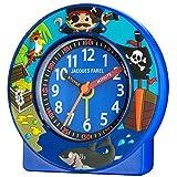 JACQUES FAREL ACN6666-G Piraten Uhr Junge Kinderwecker Wecker Kunststoff Analog Alarm blau leise Sekunde