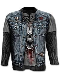 Spiral T-shirt à manches longues pour homme Motif Trash Metal Noir 4459e023c43c