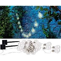 Lunartec Solar-Warmlichterketten: Solar-LED-Lichterkette im Glühbirnen-Look, 12 Birnen, 8,5 m, 2er-Set (Solar-LED-Lichterkette Außen)