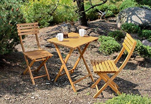 Benelando Balkonset aus Akazie mit zwei Stühlen und einem Tisch