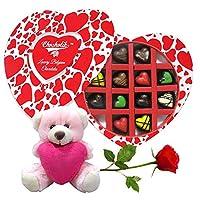 Valentine Chocolates Chocholik 12Pc Beautiful Tempting Chocolates Valentine Gift With Teddy And Rose - Luxury Chocolates - Valentine Love Gifts