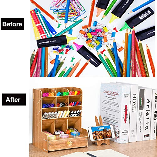 organizer da scrivania in legno Marbrasse cancelleria da scrivania multifunzione forniture per casa e ufficio con cassetto portapenne fai da te