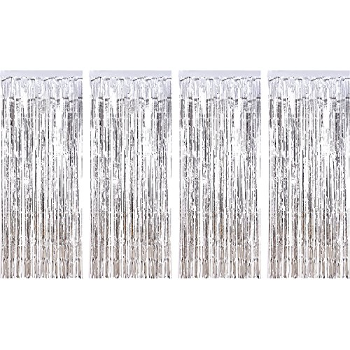 (4 Packung Folie Vorhänge Metallic Fringe Vorhänge Schimmer Vorhang für Geburtstag Hochzeit Weihnachten Schmuck (Silber))