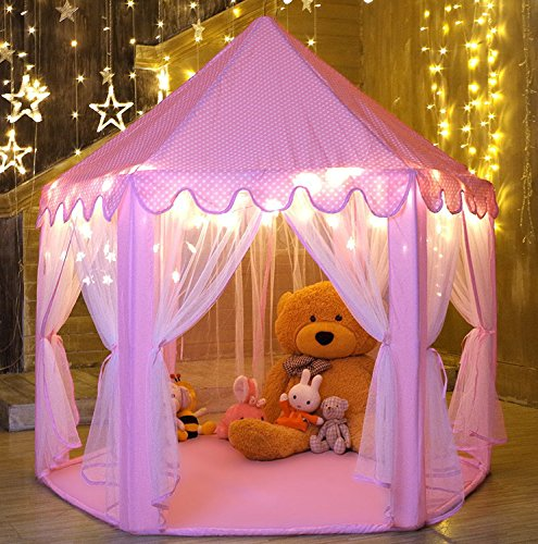WilWolfer Girls Play Tent Hexagon Princess Castle House Palace Tents Kids Playhouse with Star light for Indoor and Outdoor (Pink)