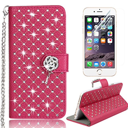 iPhone 7 Plus Handytasche,iPhone 7 Plus Hülle,Sunroyal Elegant Luxus Noble Weiß Lila Rot Schmetterling Bling Diamant Glitzer Rhinestone Muster Entwurf PU Leder Schutz Handyhülle Strass Klapp Flip Book Pattern 34