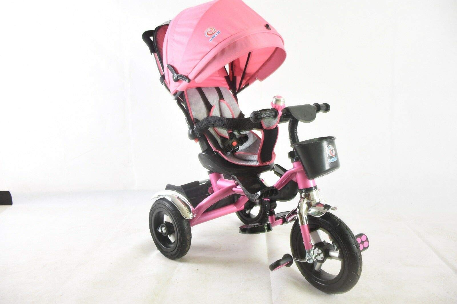 Trike Tricycle Stroller Buggy Wheel Ride Push Rain Cover Rubber Tyres 4 in 1 System (Pink) Generic Removable Leg rest for kids to feet up. Adjustable and removable parent handle or control bar. Plastic seat with removable padded cushion and lap seat belt to keep your child safe. 5