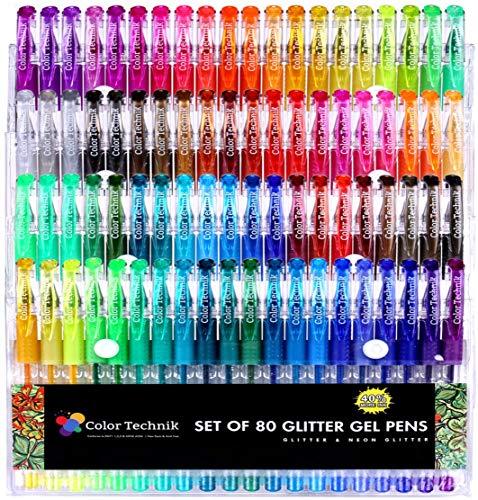 Glitzer-Gel-Stifte von Color Technik, Set mit 80 Glitzer- und Neon-Glitzer-Stiften, Beste Ausgewählte Farben