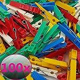 proheim bunte Mini Wäscheklammern aus Kunststoff in praktischen Sparpacks Plastikklammern 4,3 cm lang 0,7 cm breit, Menge:100 Stück