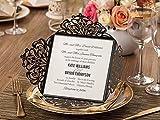 DIY Luxus Laser Schnitt schwarz und White Lace Floral Hochzeit Einladung Laden Karte, nur Gestellbezug, schwarz, weiß, 50PCS