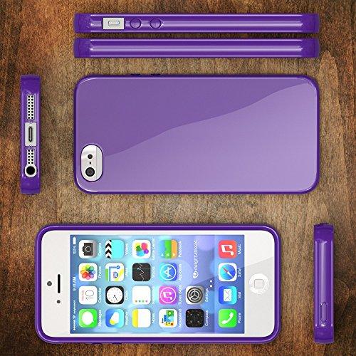 iPhone SE 5 5S Coque Silicone de NICA, Ultra-Fine Housse Protection Cover Slim Premium Etui, Mince Telephone Portable Gel Case Bumper Souple pour Apple iPhone 5 5S SE Smart-Phone - Blanc Lilas