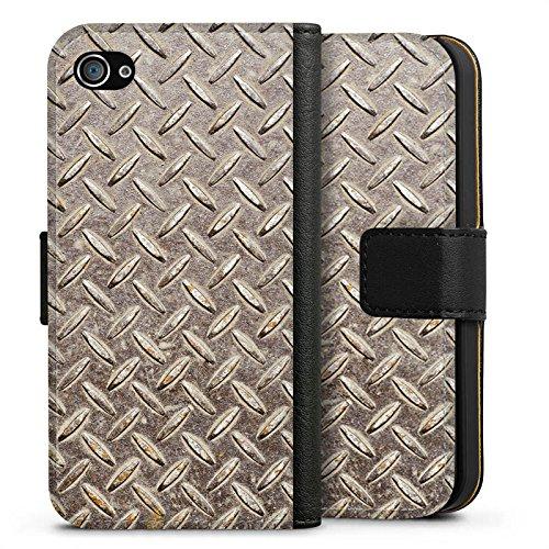 Apple iPhone X Silikon Hülle Case Schutzhülle Stahl Look Metall Sideflip Tasche schwarz