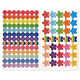FEPITO 10 Foglio 695 Pz Smiley Happy Face Stickers e Smiley Star Stickers per Insegnanti, Genitori Bambini Craft Scrap Books Decorazione, Multi Colore
